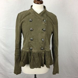 UO Free People Double Breasted Army Jacket Ruffled